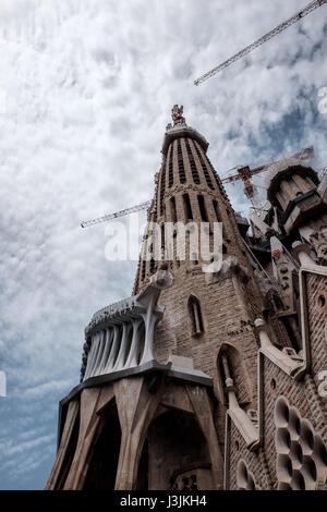 The Passion Facade of La Sagrada Familia, Barcelona Spain - Stock Photo