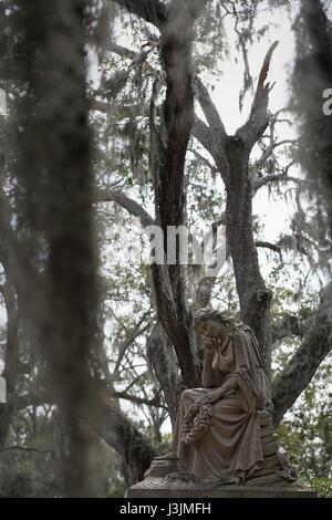 Statuary at Bonaventure Cemetery in Savannah, Georgia. - Stock Photo