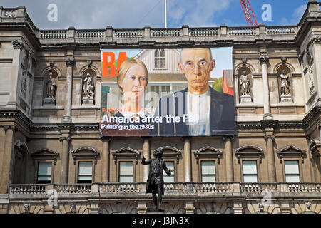 Royal Academy poster  'America after the Fall' on the exterior facade of the building  April 2017  KATHY DEWITT - Stock Photo