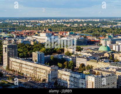 Poland, Masovian Voivodeship, Warsaw, City Center, Skyline seen from the Palace of Culture and Science - Stock Photo