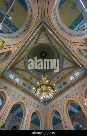 Beautiful interior decoration of Jumeirah Mosque Detail of ceiling, lamp and arches. The only mosque in Dubai which - Stock Photo