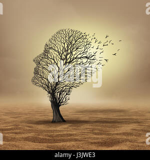 Global warming effect and extreme weather change resulting in drought and environmental damage as a dead tree in - Stock Photo