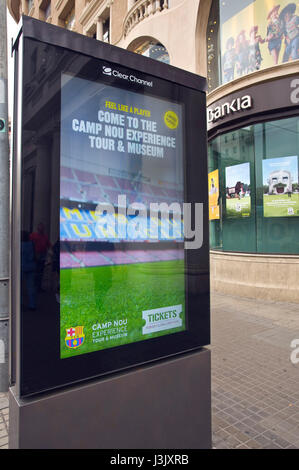 Clear Channel street billboard for Camp Nou stadium tours in Barcelona Spain ES EU - Stock Photo