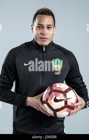 Portrait of Dutch soccer player Tjaronn Chery of Guizhou Hengfeng Zhicheng F.C. for the 2017 Chinese Football Association - Stock Photo