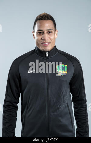 Portrait of Dutch soccer player Tjaronn Chery of Guizhou Hengfeng Zhicheng F.C. for the 2017 Chinese Football Association - Stock Photo