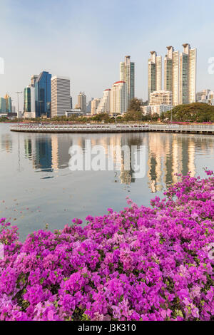 Blooming flowers at the Benjakiti (Benjakitti) Park and reflection of skyscrapers in Bangkok, Thailand. - Stock Photo