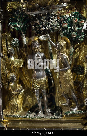 Baptism of Jesus Christ. Detail of the Cassa Processionale on display in the Treasure of Saint Lawrence (Tesoro - Stock Photo