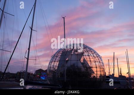 Biosphere (La Biosfera) designed by Italian architect Renzo Piano in the Old Harbour in Genoa, Liguria, Italy, at - Stock Photo