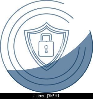 security technology padlock shield internet - Stock Photo