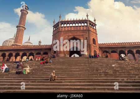 Jama Masjid Delhi main entrance gate is the largest mosque in India and a classic India architecture structure built - Stock Photo