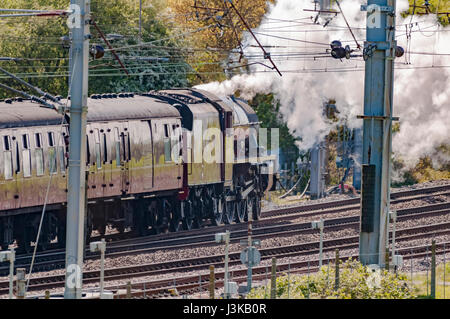 Warrington.United Kingdom.05 May 2017. LMS Jubilee Class 6P 4-6-0 no 45699 Galatea hauling the Great Britain X steam - Stock Photo