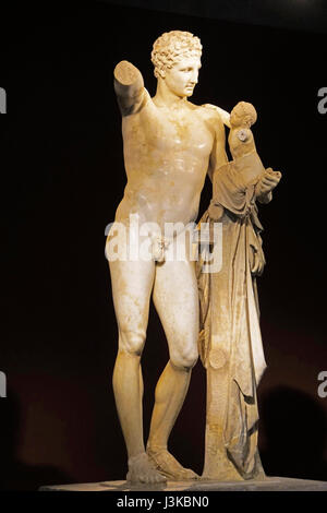 Olympia Museum statue of Hermes, messenger of the gods, holding infant Dionysos. - Stock Photo