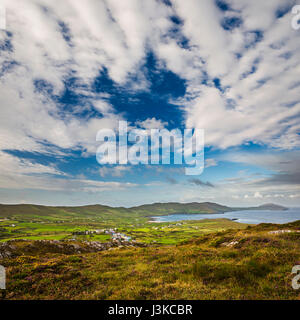 View from the Beara Way above the village of Allihies with spectacular cloud formations, Beara Peninsula, County - Stock Photo