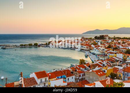 Picturesque Pythagorio town on Samos island, Greece. - Stock Photo