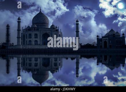Taj Mahal Agra in moon light effect. Taj Mahal is a white marble mausoleum built by Mughal emperor Shah Jahan on - Stock Photo