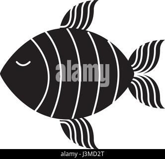 fish silhouette isolated icon - Stock Photo
