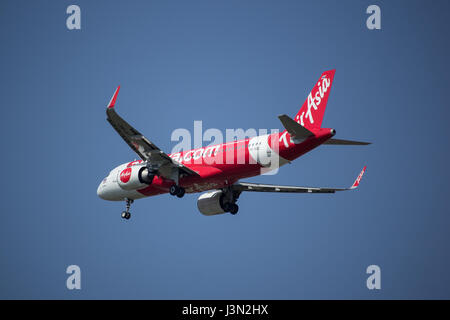 CHIANG MAI, THAILAND -APRIL 29 2017:  HS-BBZ A320-200 of Thai airasia. landing to Chiangmai airport from Phuket. - Stock Photo