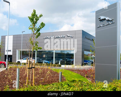 Swansway Jaguar car dealer in Crewe Cheshire UK - Stock Photo