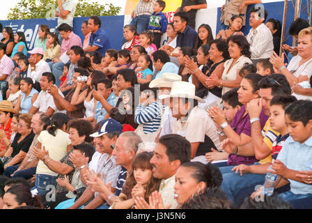Valladolid, Mexico - 25 January 2009: people spectators of a bullfight at Valladolid on Yucatan, Mexico - Stock Photo