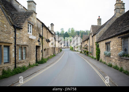 CASTLE COMBE, UK - MAY 5, 2017: Main street in Castle Combe, Wiltshire, UK, - Stock Photo