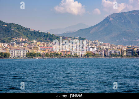 Colorful buildings in the city of Salerno seen from the sea, Campania, Italy - Stock Photo