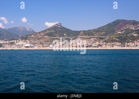 Ships in the port of Salerno seen from the sea, Campania, Italy - Stock Photo