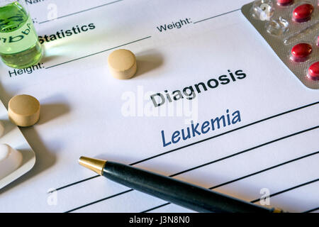 Diagnosis Leukemia written in the diagnostic form and pills - Stock Photo