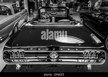 STUTTGART, GERMANY - MARCH 03, 2017: Pony car Ford Mustang V8 Cabrio GT, 1967. Rear view. Black and white. Europe's - Stock Photo
