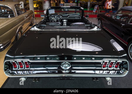 STUTTGART, GERMANY - MARCH 03, 2017: Pony car Ford Mustang V8 Cabrio GT, 1967. Rear view. Europe's greatest classic - Stock Photo