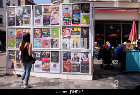 Brighton, UK. 6th May, 2017. The information wall at Brighton Festival Fringe City events today Credit: Simon Dack/Alamy Live News
