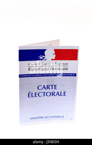 French polling card for 2017 presidential elections - Stock Photo