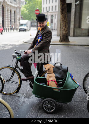 London, UK. 6th May, 2017.  a vintage male cyclist looks at his dog in a sidecar as the wait on the road. The dog - Stock Photo