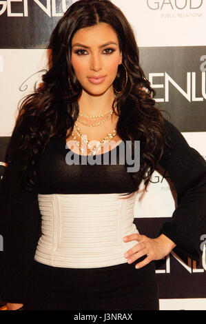 Kim Kardashian arrives for the launch of Heavenly Sinful Jewels and GENLUX Magazine party on the rooftop at the - Stock Photo