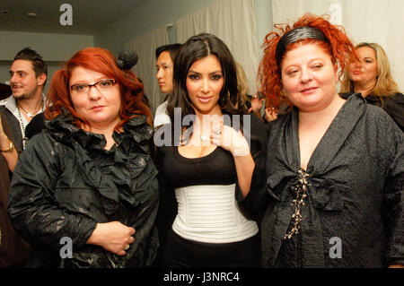 (L-R) Karine, Kim Kardashian, and Narine at the launch of Heavenly Sinful Jewels and GENLUX Magazine party on the - Stock Photo