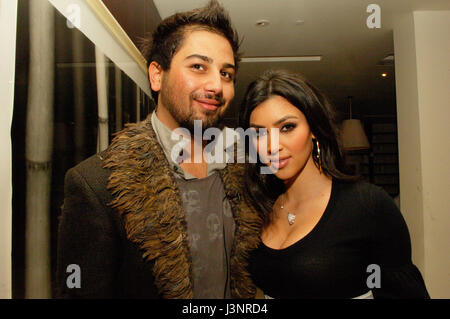 (L-R) Avo Yermagyan, Kim Kardashian at the launch of Heavenly Sinful Jewels and GENLUX Magazine party on the rooftop - Stock Photo