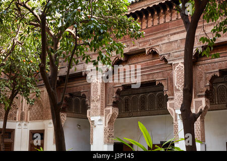 MARRAKESH, MOROCCO March 3, 2016: El Bahia Palace is visited by tourists from all world. It is an example of Eastern - Stock Photo