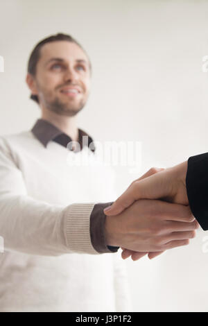 Business greeting handshake, shaking hands with partner, client, - Stock Photo