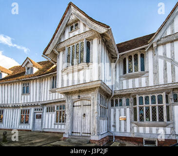 Half timbered Guildhall in Lavenham, Suffolk dating from the sixteenth century. - Stock Photo