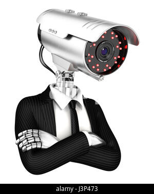 3d security agent with camera head, illustration with isolated white background - Stock Photo