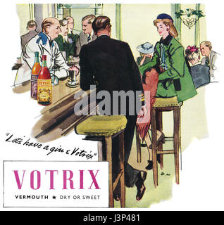 1946 British advertisement for Votrix Vermouth, illustrated by Francis Marshall. - Stock Photo