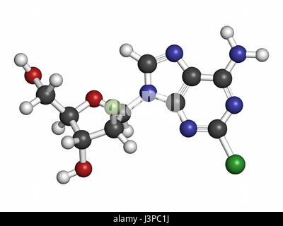 Clofarabine cancer drug molecule (purine nucleoside antimetabolite). Atoms are represented as spheres with conventional - Stock Photo