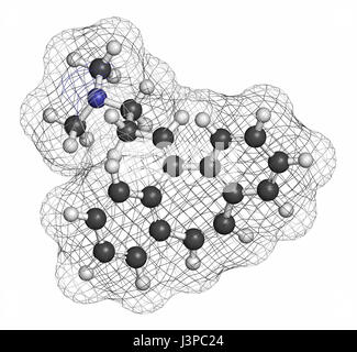 Cyclobenzaprine muscle spasm drug molecule. Atoms are represented as spheres with conventional color coding: hydrogen - Stock Photo