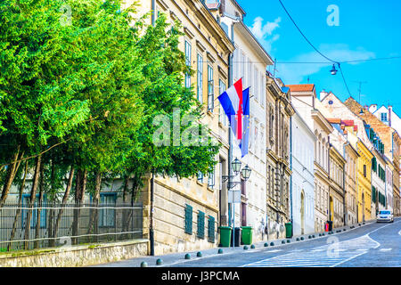 View at old stone street in city center of town Zagreb, Croatia. - Stock Photo