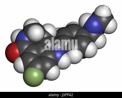 Rucaparib cancer drug molecule (PARP inhibitor). Atoms are represented as spheres with conventional color coding: - Stock Photo
