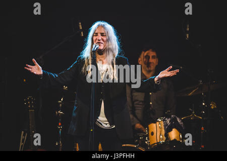 Turin, Italy. 6th May, 2017. Patricia Lee 'Patti' Smith is an American singer-songwriter, poet, and visual artist - Stock Photo