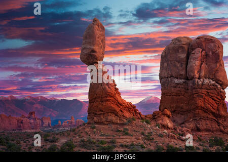 Balanced Rock is one of the most popular features of Arches National Park, situated in Grand County, Utah, United - Stock Photo