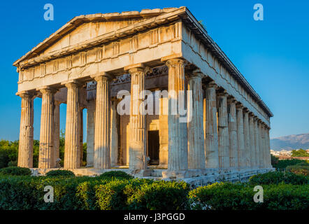 Ancient Greek place of worship, built in the Doric style out of marble with bas relief friezes. Located in Athens' - Stock Photo