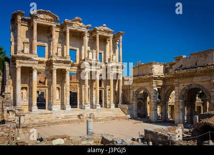 The library of Celsus is an ancient Roman building in Ephesus, Anatolia, now part of Selçuk, Turkey. It was built - Stock Photo