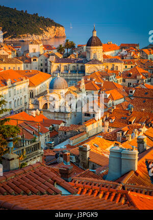 Dubrovnik, Croatia, with its characteristic medieval city walls. Dubrovnik is a Croatian city on the Adriatic Sea, - Stock Photo