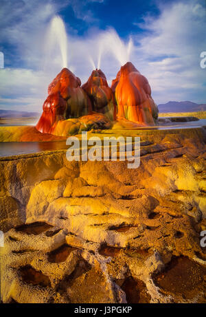 The continuous Fly Geyser of Fly Ranch is on private land in Nevada and began during 1916 when a water well drilling - Stock Photo